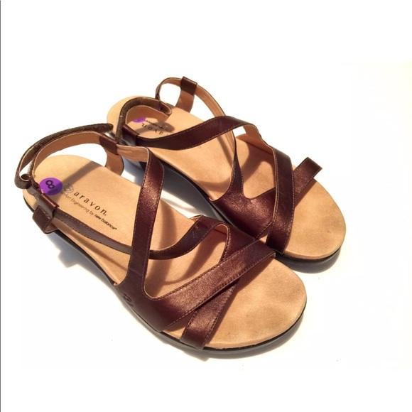 2d43f693f aravon Shoes - Aravon Bronze Strappy Comfort Flat Sandals Sz 8